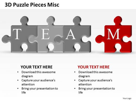 Teamwork 3d Puzzle Pieces Misc PowerPoint Slides And Ppt Diagram Templates