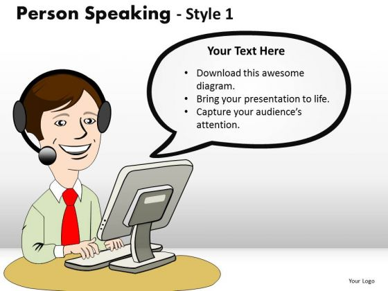 Tech Support Person Speaking PowerPoint Slides And Ppt Diagram Templates