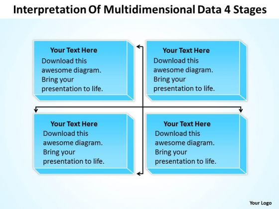 Template For Organizational Chart Of Multidimensional Data 4 Stages