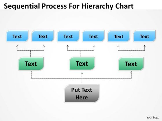 Template For Organizational Chart Sequential Process Hierarchy PowerPoint Templates