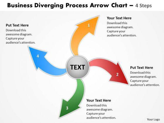Templates Diverging Process Arrow Chart 4 Steps Cycle Flow Diagram ...