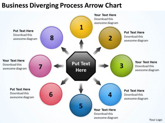 Templates Diverging Process Arrow Chart Cycle PowerPoint