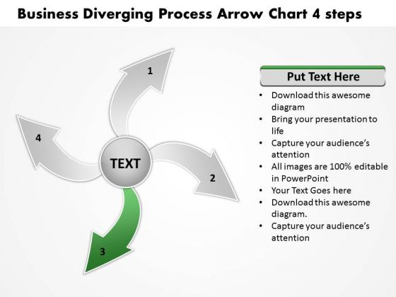 Templates Download Diverging Process Arrow Chart 4 Steps Ppt Cycle PowerPoint Slides