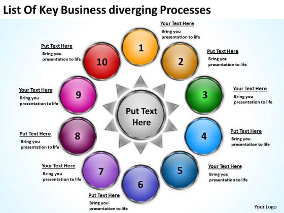 Templates Download Diverging Processes Arrows Network Software PowerPoint