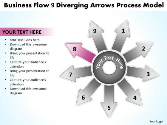 Templates Flow 9 Diverging Arrows Process Model Ppt Cycle Chart PowerPoint