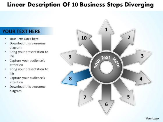 Templates Free Download Steps Diverging Circular Flow Process PowerPoint