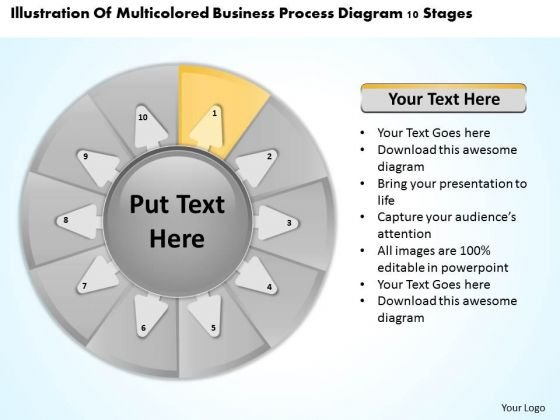 Templates Process Diagram 10 Stages Financial Advisor Business Plan PowerPoint
