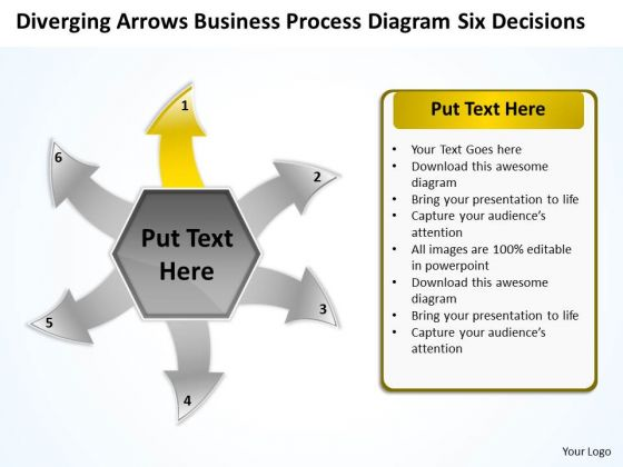 Templates Process Diagram Six Decisions Ppt Arrow Software PowerPoint