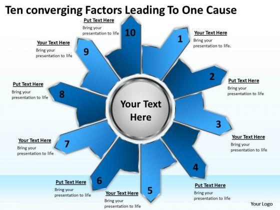 Ten Converging Factors Leading One Cause Circular Spoke Diagram PowerPoint Templates