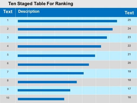Ten Staged Table For Ranking PowerPoint Template