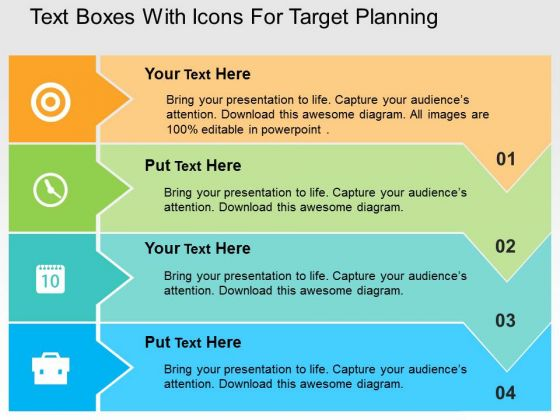 Text Boxes With Icons For Target Planning PowerPoint Templates