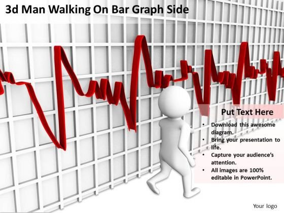 The Business People 3d Man Walking On Bar Graph Side PowerPoint Slides