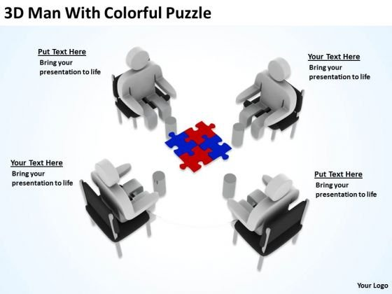 The Business People 3d Man With Colorful Puzzle PowerPoint Slides