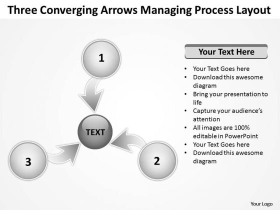Three Converging Arrows Managing Process Layout Cycle PowerPoint Templates