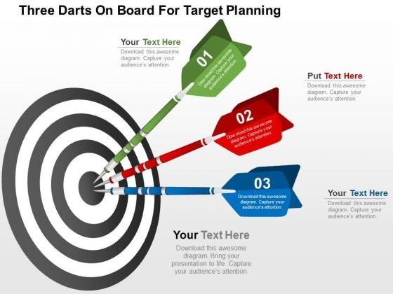 Three Darts On Board For Target Planning PowerPoint Template