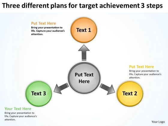 Three Different Plans For Target Achievement 3 Steps Charts And PowerPoint Slides