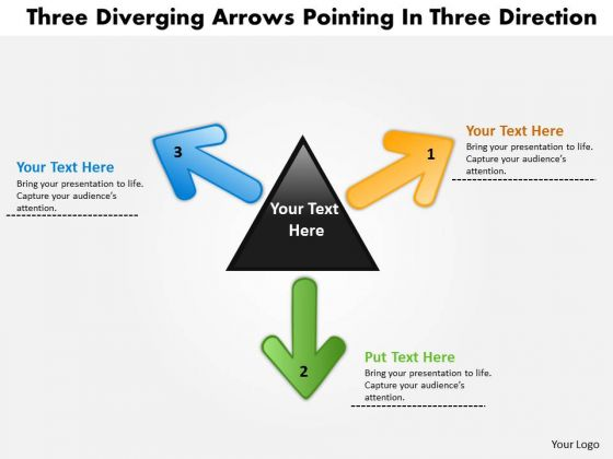 Three Diverging Arrows Pointing Direction Cycle Network PowerPoint Slides