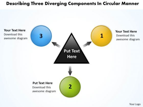 Three Diverging Components Circular Manner Relative Cycle Arrow Network PowerPoint Slides