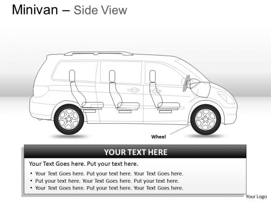 Three Green Minivan Side View PowerPoint Slides And Ppt Diagram Templates