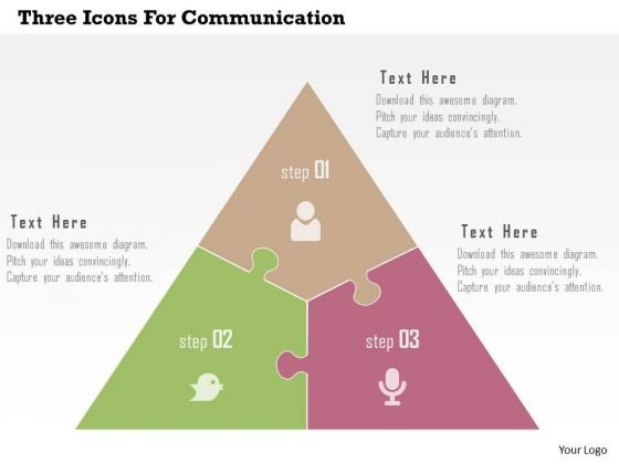 Three Icons For Communication Presentation Template