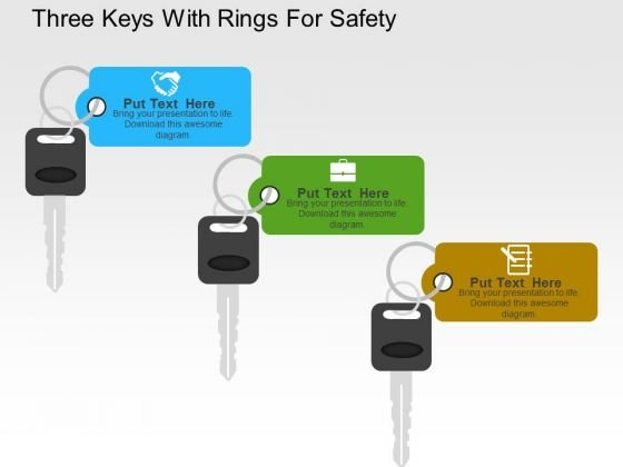 Three Keys With Rings For Safety PowerPoint Template