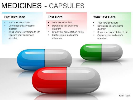 Three Medical Capsules PowerPoint Slides And Ppt Diagram Templates