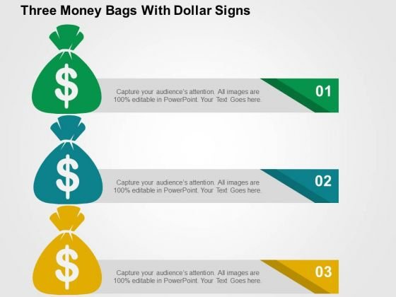 Three Money Bags With Dollar Signs PowerPoint Templates