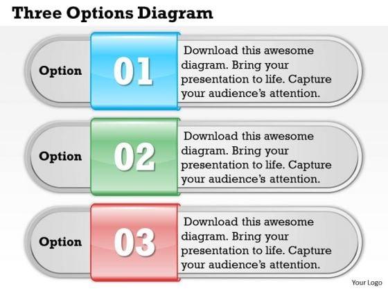 Three Options Diagram PowerPoint Presentation Template