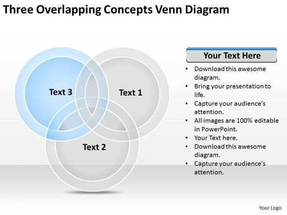 Three Overlapping Concepts Venn Diagram Ppt Simple Business Plan PowerPoint Slides