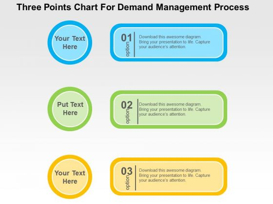 Three Ponits Chart For Demand Management Process PowerPoint Template