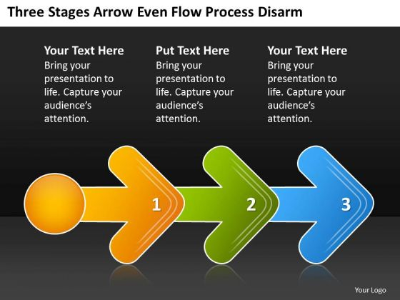 Three Stages Arrow Even Flow Process Digarm Po Chart PowerPoint Slides