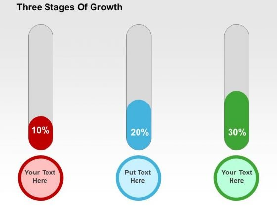 Three Stages Of Growth PowerPoint Template