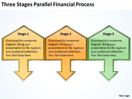 Three Stages Parallel Financial Process Business Continuity Plan Template PowerPoint Slides