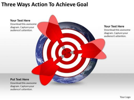 Three Ways Action To Achieve Goal Circular Flow Network PowerPoint Templates