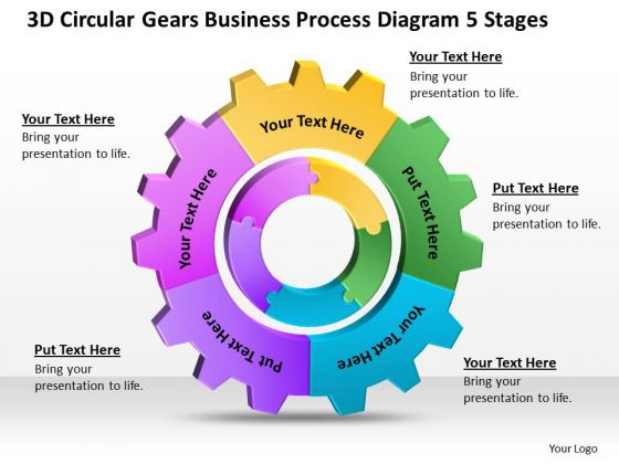 Timeline 3d Circular Gears Business Process Diagram 5 Stages