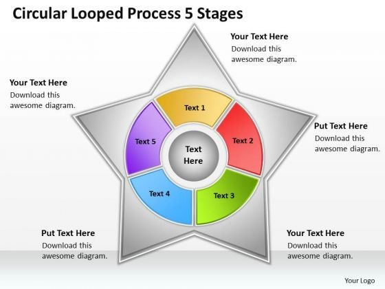 Timeline Circular Looped Process 5 Stages