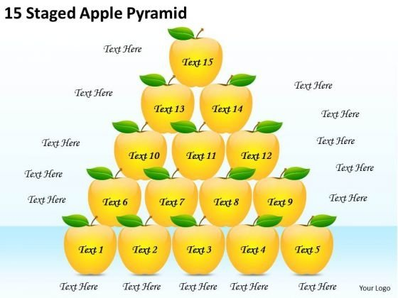 Timeline PowerPoint Template 15 Staged Apple Pyramid