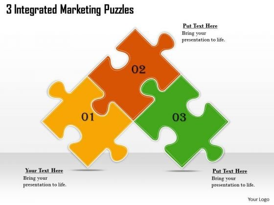 Timeline PowerPoint Template 3 Integrated Marketing Puzzles