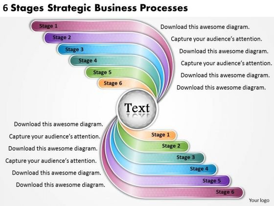 Timeline PowerPoint Template 6 Stages Strategic Business Processes