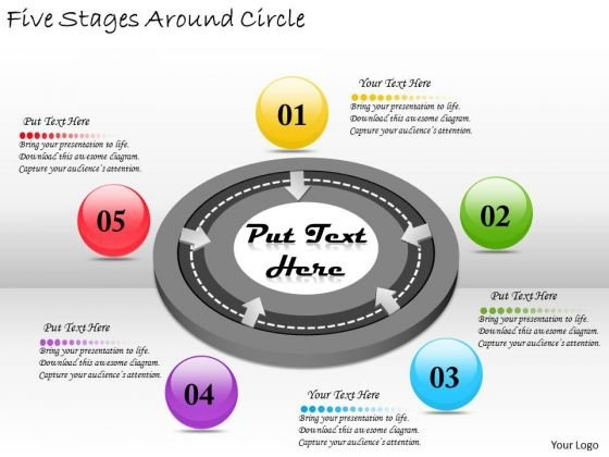 Timeline PowerPoint Template Five Stages Around Circle