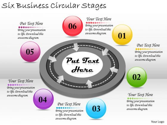 Timeline PowerPoint Template Six Business Circular Stages
