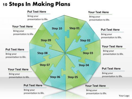 Timeline Ppt Template 10 Steps In Making Plans