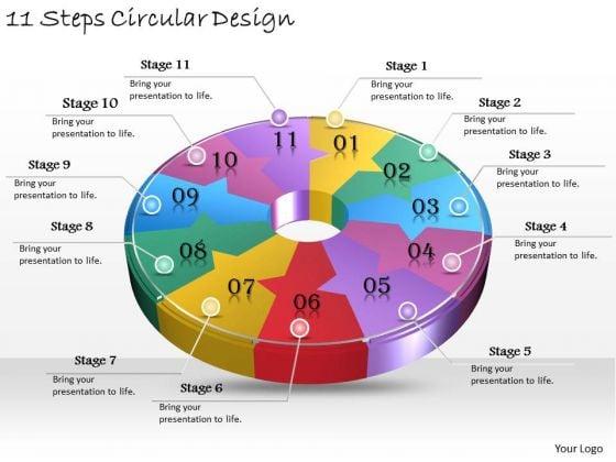 Timeline Ppt Template 11 Steps Circular Design
