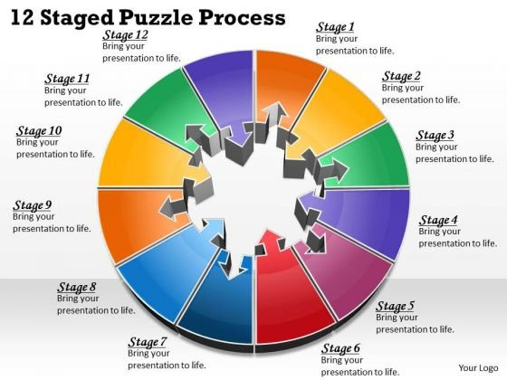 Timeline Ppt Template 12 Staged Puzzle Process