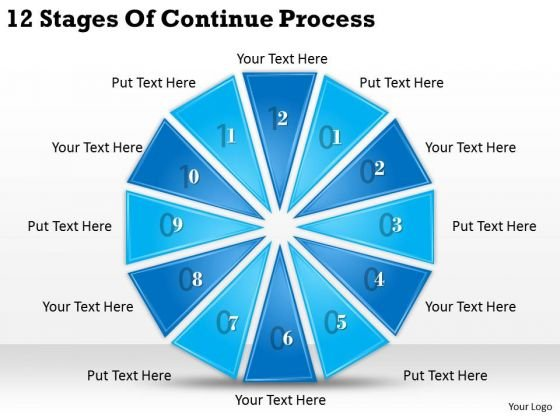 Timeline Ppt Template 12 Stages Of Continue Process