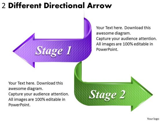 Timeline Ppt Template 2 Different Directional Arrow