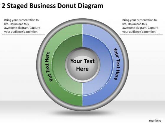 Timeline Ppt Template 2 Staged Business Donut Diagram