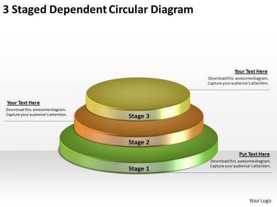 Timeline Ppt Template 3 Staged Dependent Circular Diagram
