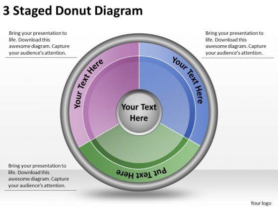 Timeline Ppt Template 3 Staged Donut Diagram