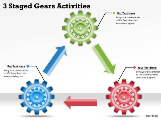 Timeline Ppt Template 3 Staged Gears Activities